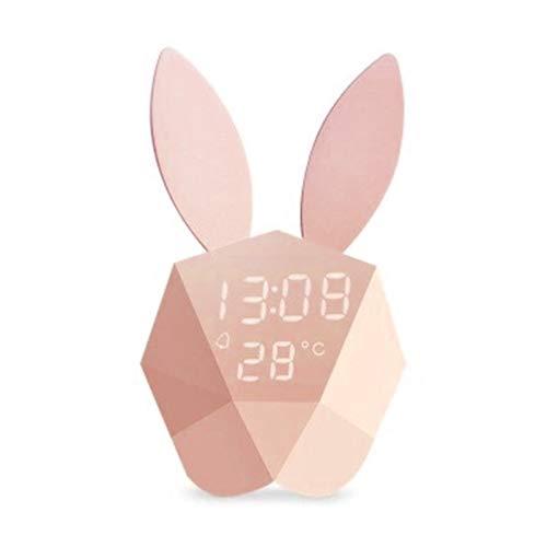 Boji Despertador digital, multifuncional USB, diseño sencillo, linda cabeza de conejo, recargable por USB, reloj digital para el dormitorio, salón, decoración del dormitorio