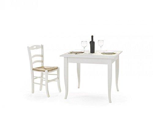Legno&Design Tavolo Quadrato Fisso Bianco Laccato