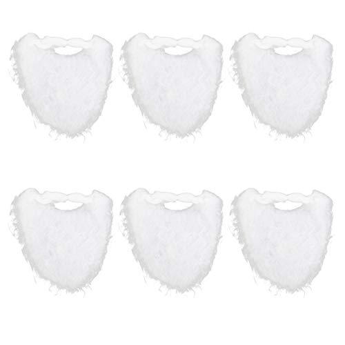 jojofuny 6pcs Funny Santa Beard Costume White Fake Beard Christmas Santa Claus Beard Costume Accessories Christmas Party Supplies