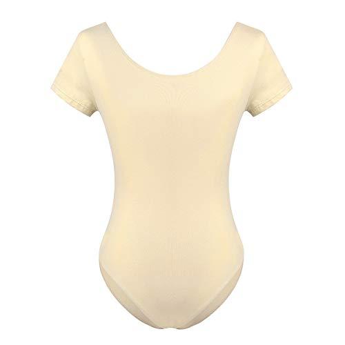 Laisla fashion Damen Body Kurzarm Sportbody Fitness Classic Trikot Ballett Turnen Marken Mode Ballettanzug Jungs Baumwolle Tanz Body Gymnastik Leotard Tops (Color : Nackt, Size : L)