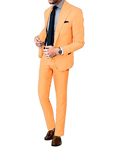 CALVINSUIT Herren 2 Stück Smoking Notch Revers Anzug (Jacke + Hose)