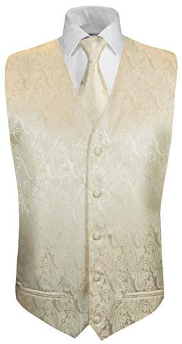 Paul Malone Hochzeitsweste + Krawatte Creme Paisley - Bräutigam Hochzeit Anzug Weste Gr. 56 XL