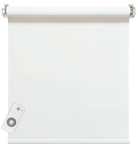 Estor eléctrico opaco con motor a batería, color blanco, 100% opaco, fijación a las hojas de la ventana sin agujeros, 85 x 160 cm (1 unidad)