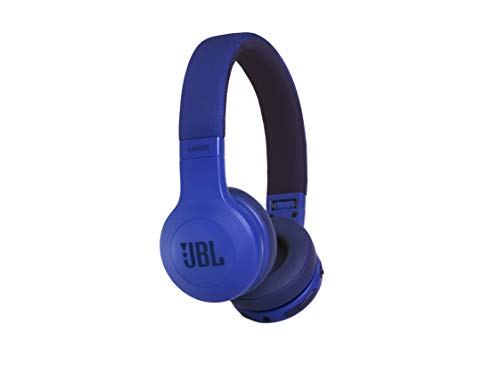 JBL E45BT Auriculares supraaurales inalámbricos plegables, incluye cable de tela con mando universal de 1 botón, con micrófono integrado, azul