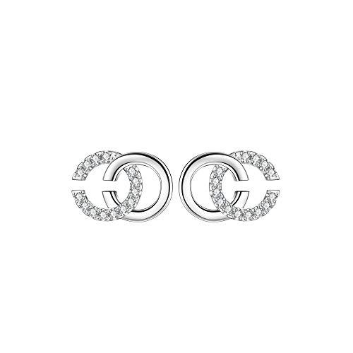 Lydreewam Ohrstecker Silber 925 Damen Ohrringe CC mit 3A Zirkonia, Durchmesser 12mm