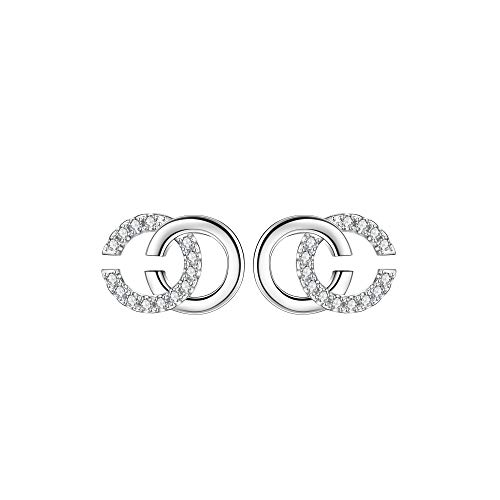 Lydreewam 925 Sterling Silver Letter Double C Earrings for Women with 3A Cubic Zirconia, Diameter 12mm