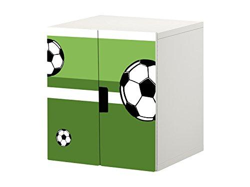 Fußball Möbelfolie/Aufkleber - STK32 - passend für die Kinderzimmer Kommode/Schrank mit 2 Türen STUVA von IKEA - Bestehend aus 2 passgenauen Möbelfolien (Korpus 60 x 64 cm) Möbel Nicht Inklusive