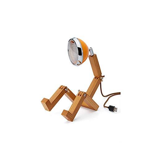 Piffany Mini Mr. Wattson LED-Tischleuchte, elegantes und minimalistisches Design, hochwertige Legierung aus Eschenholz, MC Laren Orange