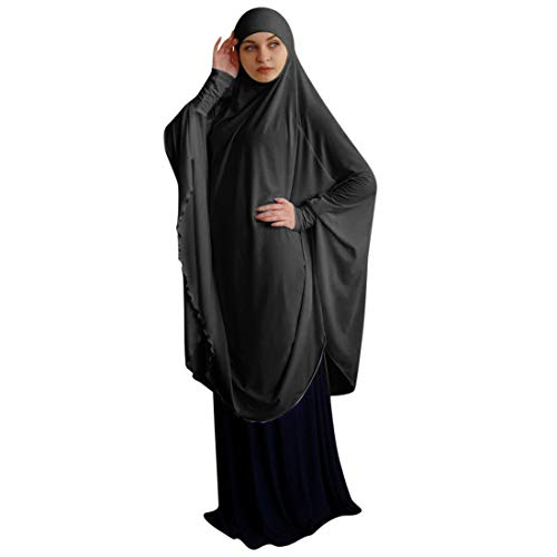 Homemari Women Muslim Clothing Womens Prayer Dress Large Size Solid Color Full Cover Women Black