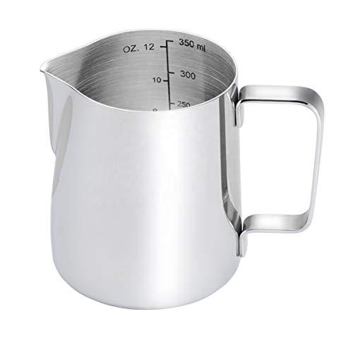 BOHORIA® Premium Milchkännchen, Milk Pitcher 350ml / 12 FL.oz. Milchkanne aus Edelstahl, Milch Aufschäumen für Cappuccino und Cafe Latté, Silber (9×7,5cm) (350ml)