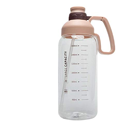 Botella De Agua Portátil De Gran Capacidad Con Escala Taza De Agua De Paja Para Deportes Para Adultos Para Hombres Y Mujeres Taza Al Aire Libre Botella De Agua De Gran Tamaño Para Ejercicios-Rosa