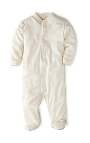 hessnatur Baby Mädchen und Jungen Unisex Schlafoverall aus Reiner Bio-Baumwolle Natur 50/56