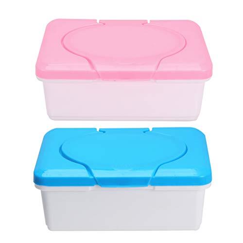 HEALLILY 2 Piezas Bebé Caja de Pañuelos Húmedos Dispensador de Toallitas Húmedas Caja de Almacenamiento Caja de Toallitas Húmedas Contenedor para Viajes Dentro del Hogar (Rosa + Azul)