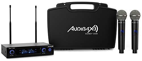 Audibax Sidney 1250 B Micrófono Doble Mano Profesional UHF Frecuencia B + Maleta