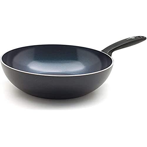 GreenPan Wok Antiadherente de Cerámica, Apto para Todo Tipo de Cocinas, Inducción, Horno y Lavavajillas, 28 cm, Negro