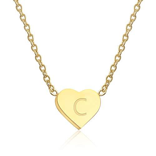 Good.Designs ® Collar de señoras con Colgante de corazón pequeño (Oro) Cadena de corazón con Letras