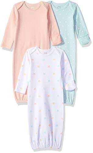 Amazon Essentials Baby-Nachthemd für Jungen, 3 Stück, Uni Stars, US 0-6M (EU 56-68)