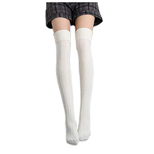 Homingg Knee High Socks 1 Paar Halten Overknee Strümpfe Stricken Sport Socken … (White)