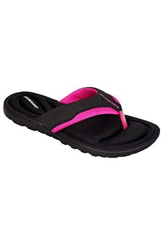 Dunlop Damen-Flip-Flops aus Gedächtnisschaum, Badeschuhe für den Strand- Gr. 39 EU / 6 UK / 9 US, Black - Fuchsia