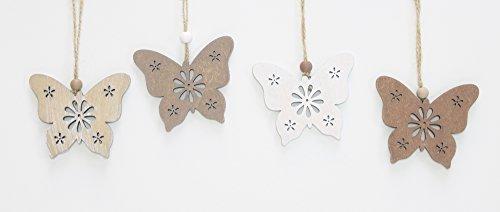 FRANK FLECHTWAREN Deko-Hänger Schmetterling im 12er Set im Landhaus-Stil mit aufwändigen Ausstanzungen