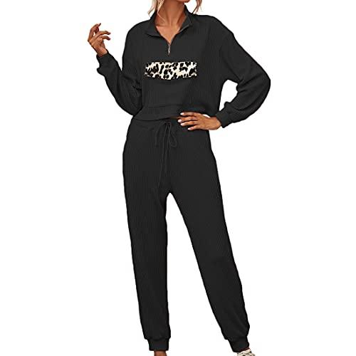 Yczx Tuta da Donna Manica Lunga 1/4 Collo con Cerniera Leopardata Patchwork Tasca Felpa con Pantaloni Lunghi Tuta da Donna in Due Pezzi per Il Tempo Libero Tuta da Jogging Tuta Sportiva Tuta XXL