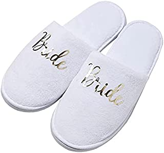 Bride Slippers Bride to be Slippers Fluffy Cotton Cloth Spa Slippers House Slippers For Women Wedding Shoes For Bride Brid...