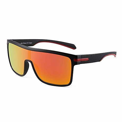 JIM HALO Men's Polarized Shield Sunglasses Oversized Flat Top Square Glasses (Black Frame / Polarized Flash Orange Lens)