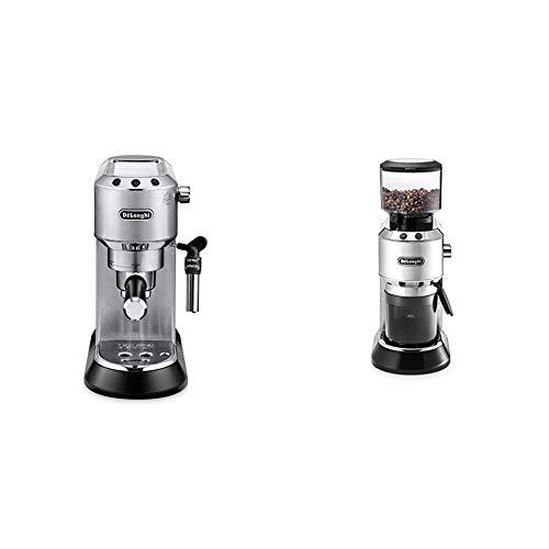 De'Longhi Dedica EC 685.M Espresso Siebträgermaschine | 15 bar | Professionelle Milchschaum Düse| Füllmenge 1 l | Vollmetallgehäuse | Silber + KG 520.M Elektrische Kaffeemühle, silber