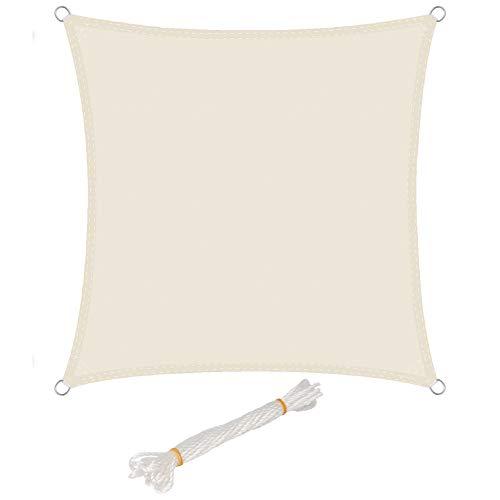 WOLTU Sonnensegel Quadrat 4x4m Creme wasserabweisend Sonnenschutz Polyester Windschutz mit UV Schutz für Garten Terrasse Camping