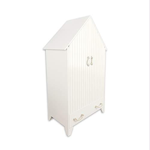 PuckDaddy Kleiderschrank Carlotta 110x55x187cm, Kinderkleiderschrank Weiss für Babyzimmer und Kinderzimmer, Babyschrank Haus