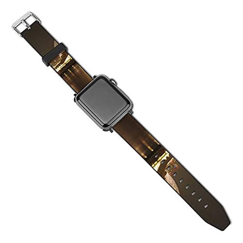 時計ストラップ 横浜の夜景のフリ1 AppleiWatchシリーズストラップと互換性があります ファッショナブルなPUレザーアップルストラップ 優れた技量便利な設置さまざまな活動に適したユニークなストラップ