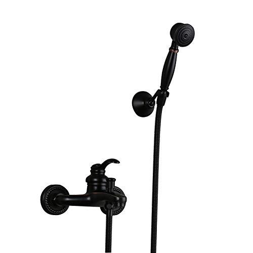 AXWT Baño Negro Ducha Sistema Sistema Sistema de Lluvia Cabeza de Ducha Handheld Ducha Handheld Taps Set Bath Bath Filler Tap, Conjunto de Ducha Sistema de Ducha 2-Función
