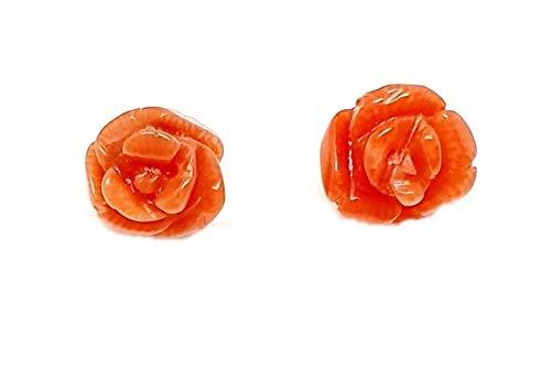 Sicilia Bedda - Orecchini a forma di Rosa in Corallo Rosso del Mediterraneo e Argento 925 - Prodotto realizzato a Mano
