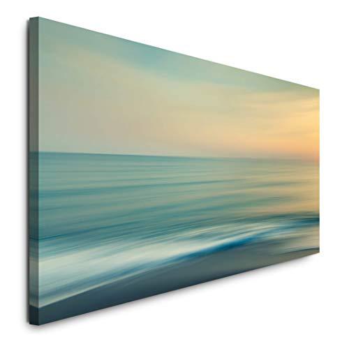Paul Sinus Art GmbH Meer und Himmel 120x 50cm Panorama Leinwand Bild XXL Format Wandbilder Wohnzimmer Wohnung Deko Kunstdrucke