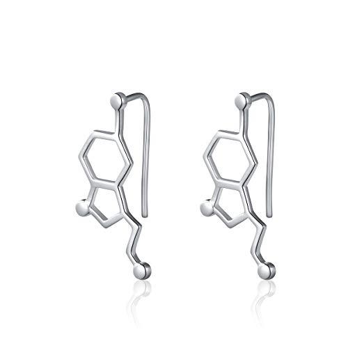 Molécula de plata esterlina S925 Collar de moléculas de serotonina y cafeína Química para los amantes de la ciencia Amante de los cafés y circonitas Cubiertas Pendientes de gancho Regalos para