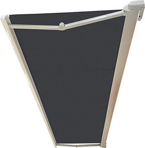 Store BANNE Coffre Integral MOTORISE RAL Blanc 4,3 X 3,5 Toile Dickson® Carbone