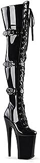 23CM High Heels Fashion Damen Oberschenkel High Overknee Stiefel Stiletto Plateaustiefel-Black  46