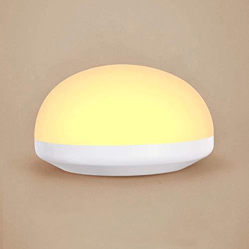 OOWOLF Lampara Noche Táctil LED, Lampara Nocturna Infantil USB Recargable Con Blanco Cálido Ajustable Lámpara de Mesilla Resistente a Caída Portátil