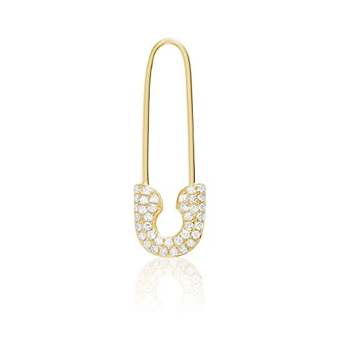 14K Yellow Gold and Diamonds Safety Pin Threader Fashion Earring, for Right Ear