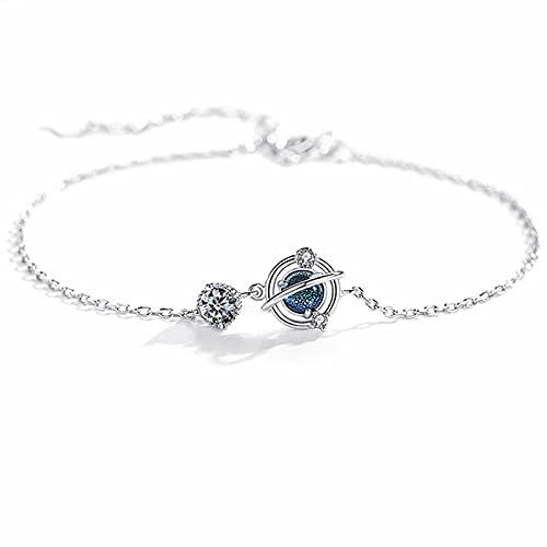 YITIANTIAN Pulsera y Brazalete con Dije de Planeta de Cristal de Plata esterlina 925 para Mujer, joyería de Boda, Fiesta