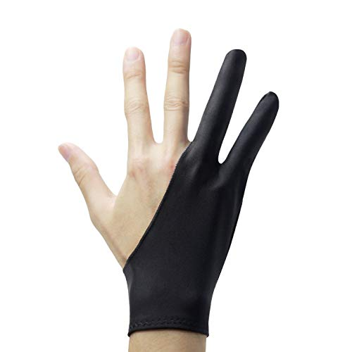 SOCLL Stylus Pen Drawing Anti-fouling Glove 2 Pack, Artist Two Finger Glove for Graphic Tablet, Art Creation and iPad Pro Pencil Fit for Right Hand or Left Hand Black