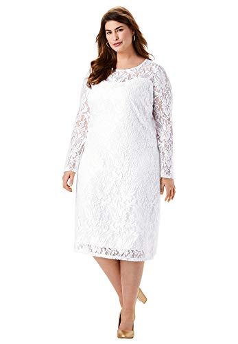 Jessica London Women's Plus Size Lace Shift Dress - 28, White