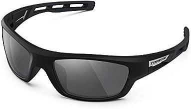 TOREGE Polarized Sports Sunglasses for Man Women Cycling Running Fishing Golf TR90 Unbreakable Frame TR07 Steath Man (Black Frame&Black&Grey)