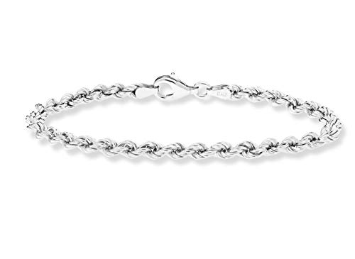 Miabella 925 Sterling Silver 4mm Classic Rope Chain Link Bracelet for Women Men, 6.5, 7, 7.5, 8, 8.5 Inch Made in Italy (8 Inches)