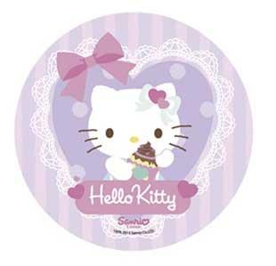 Tortenaufsatz, Motiv: Hello Kitty, 21cm Esspapier/Reispapier Nr. II Cup-Cake-Aufsatz für Geburtstag, Party, Kinder, Hochzeit, Dekoration