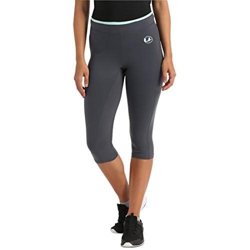 Ultrasport Pantaloni funzionali antibatterici pinocchietto Fitness/Sport per donna con funzione Quick Dry, Grigio/Verde Menta, L