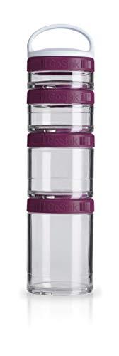 BlenderBottle GoStak Behälter zum Aufbewahren von Protein, Eiweiß, Pulver, Vitaminen und mehr- Starter 4Pak inkl. Henkel (150ml, 100ml, 60ml und 40ml), plum