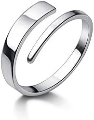 Minimalist Open Statement Rings S925 Sterling Silver Fashion Double Layers Cuff Wraps Stacking product image