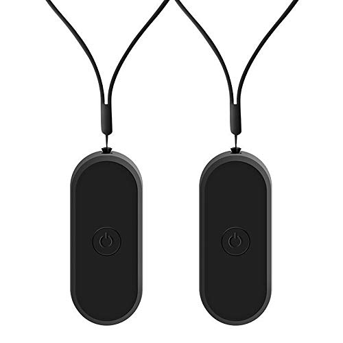 Andifany Purificador de Aire de Cuello Colgante de 2 Piezas, Elegante Purificador de Aire de Iones Negativos PortáTil Personal Usable Negro