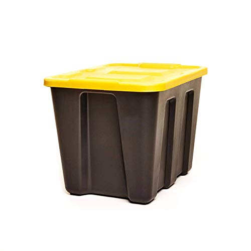 HOMZ 18 Gallon Durabilt LLDPE Container Heavy Duty Plastic Storage, Set of 4, Black and Yellow, 4 Set